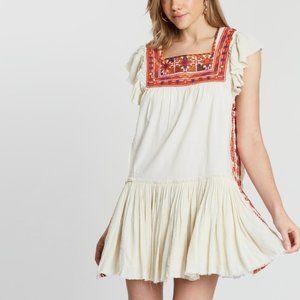 FREE PEOPLE Day Glow Mini Embroidered Ruffle Dress